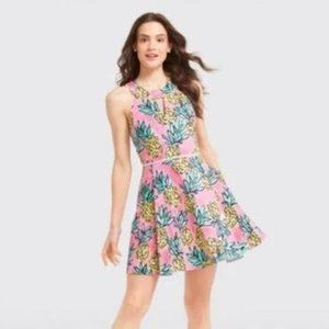 Draper James Pink Pineapple Halter Dress